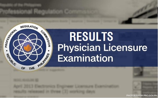 prc board exam results for physician licensure examination
